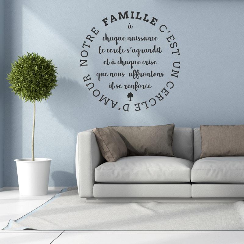 Stickers muraux citations sticker citation notre famille cest lamour