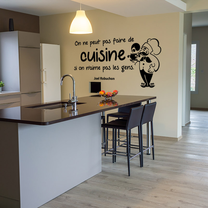 sticker citation on ne peut pas faire de cuisine joel robuchon stickers citations cuisine. Black Bedroom Furniture Sets. Home Design Ideas