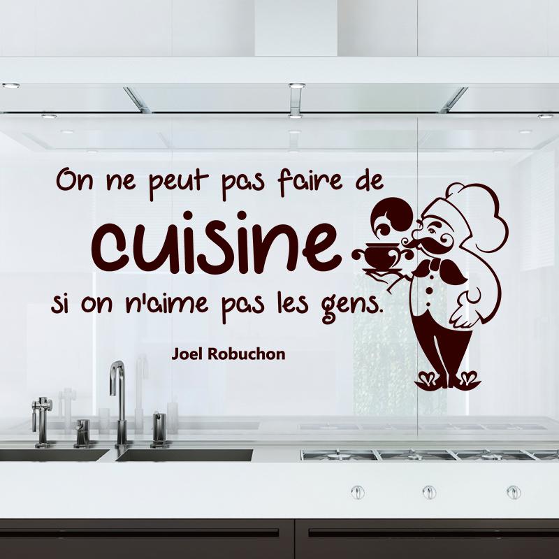Sticker Citation On Ne Peut Pas Faire De Cuisine Joel Robuchon - Citation sur la cuisine