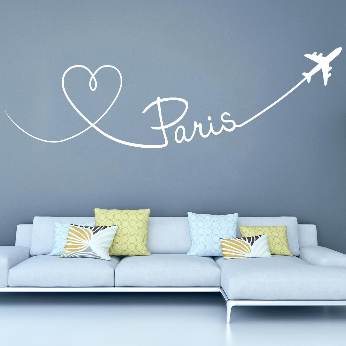 Stickers muraux Pays et Villes - Sticker Avion trace de Paris ...