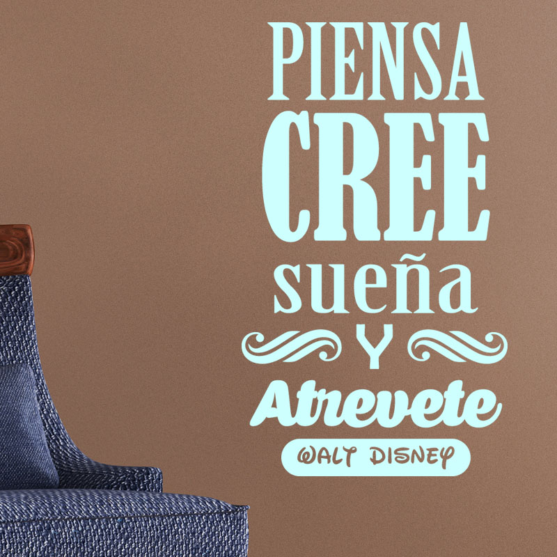 sticker citation piensa cree suena y atrevete walt disney stickers citations espagnol. Black Bedroom Furniture Sets. Home Design Ideas