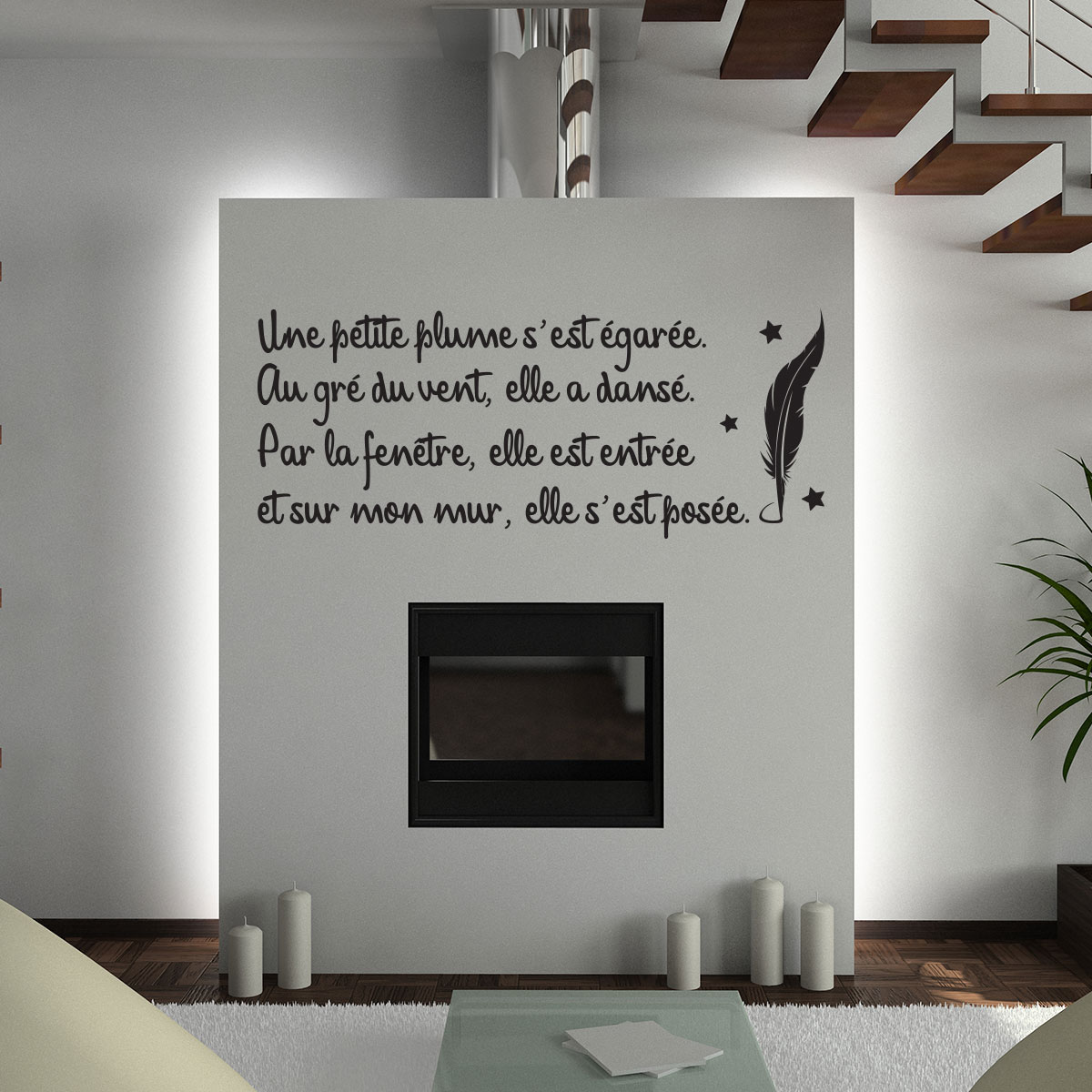 sticker citation po sie une petite plume stickers citations fran ais ambiance sticker. Black Bedroom Furniture Sets. Home Design Ideas