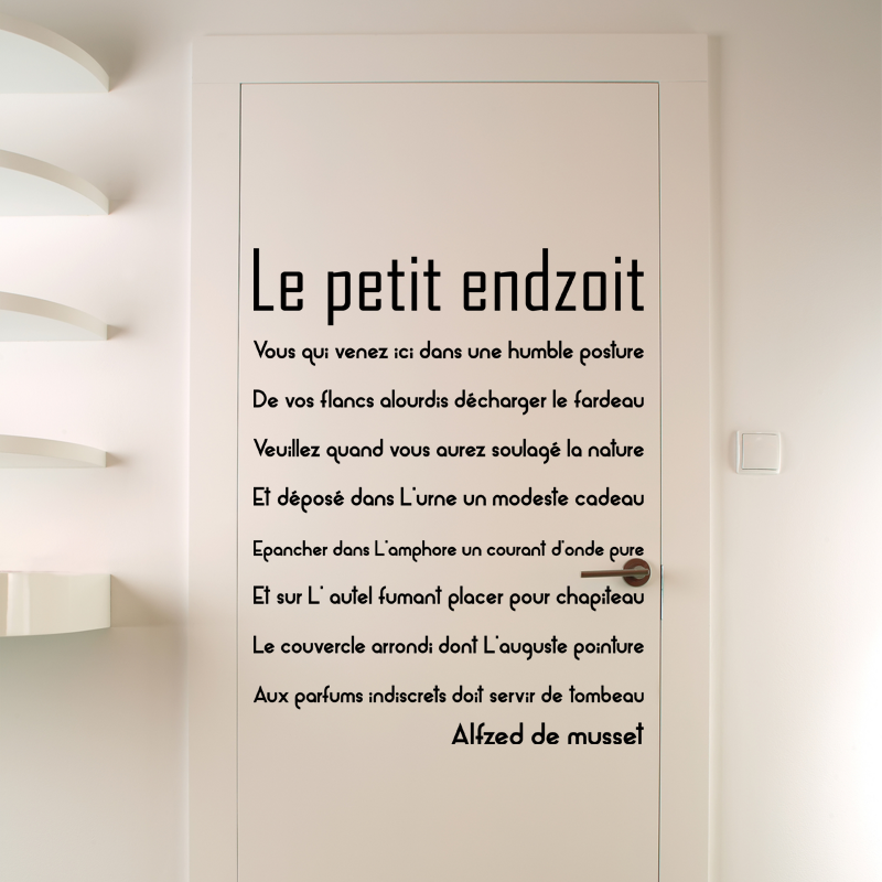 sticker citation porte de toilette le petit endroit stickers toilettes porte ambiance sticker. Black Bedroom Furniture Sets. Home Design Ideas