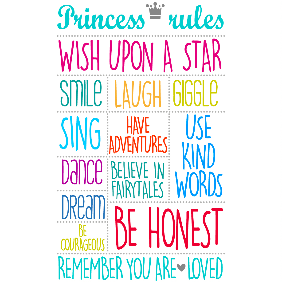 sticker citation princess rules multi couleur stickers. Black Bedroom Furniture Sets. Home Design Ideas
