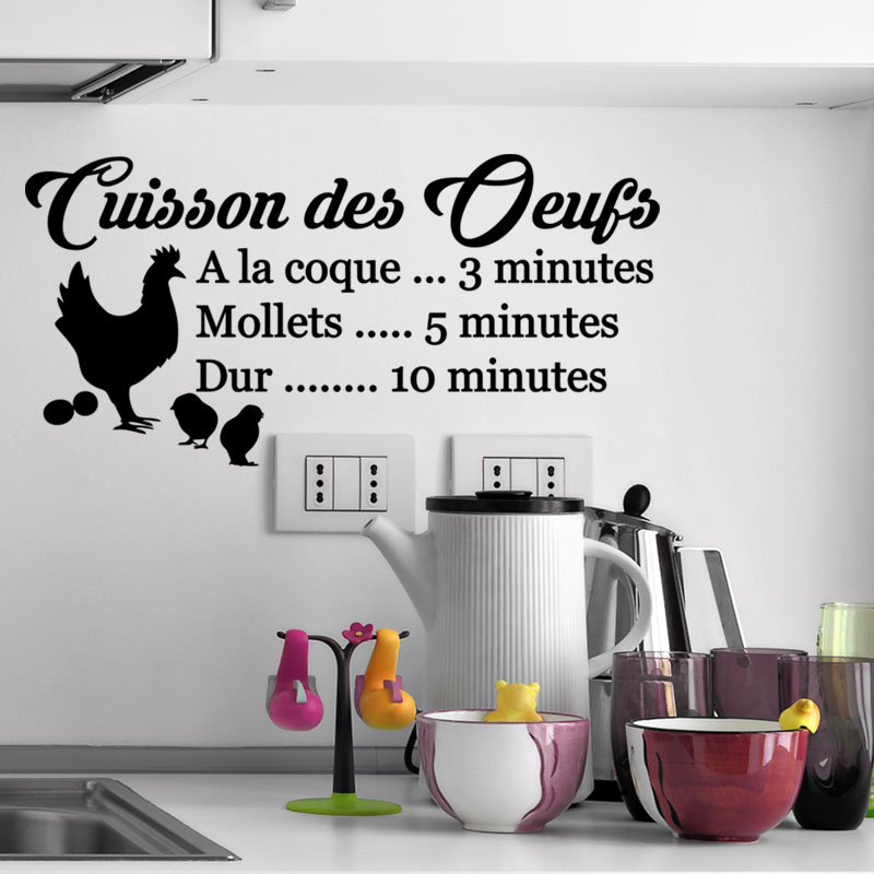 sticker citation recette cuisson des oeufs stickers cuisine nourriture et fruits ambiance. Black Bedroom Furniture Sets. Home Design Ideas