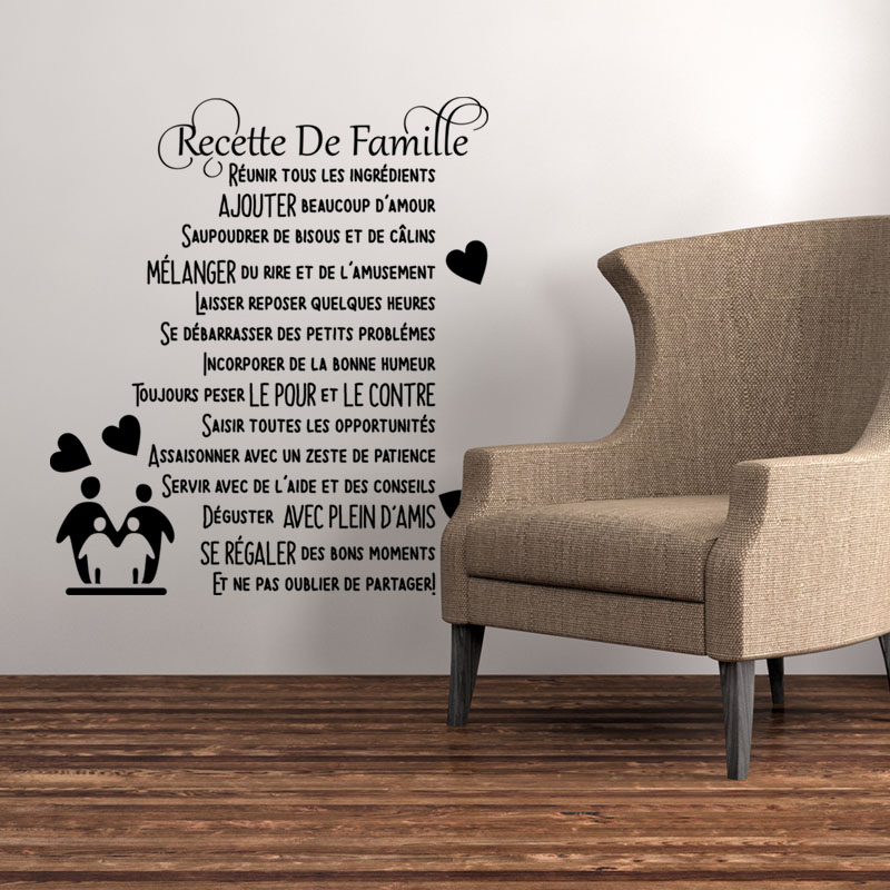 Sticker citation recette de famille stickers citations for Autocollant mural texte