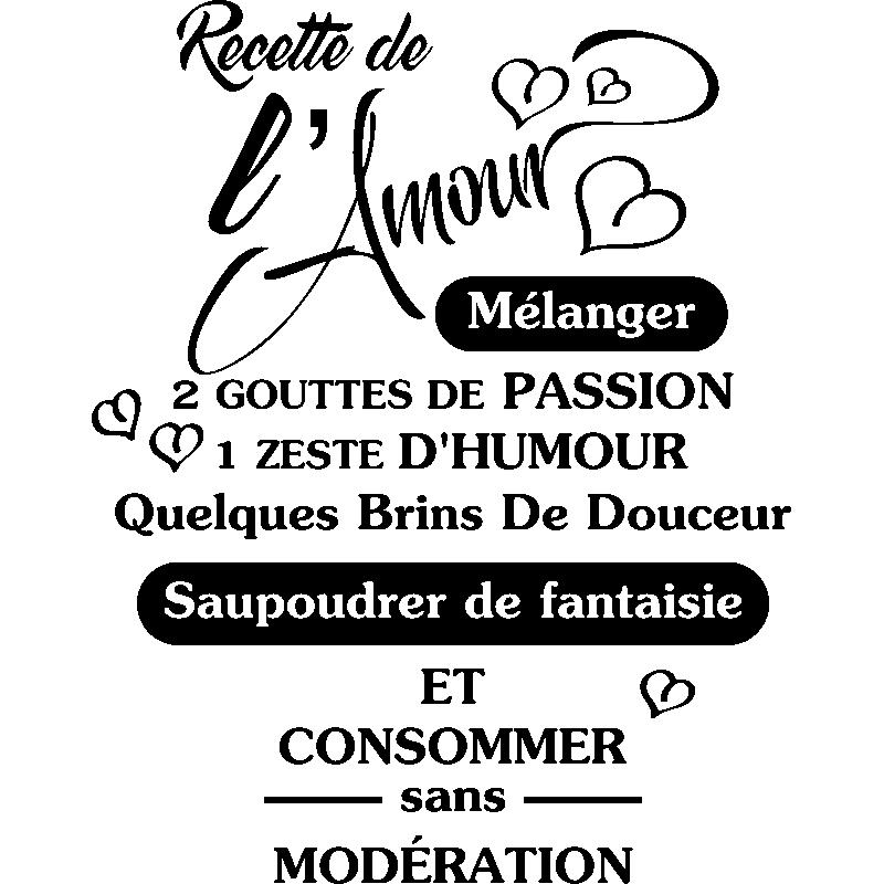 Sticker citation Recette de lAmour – Stickers Citations