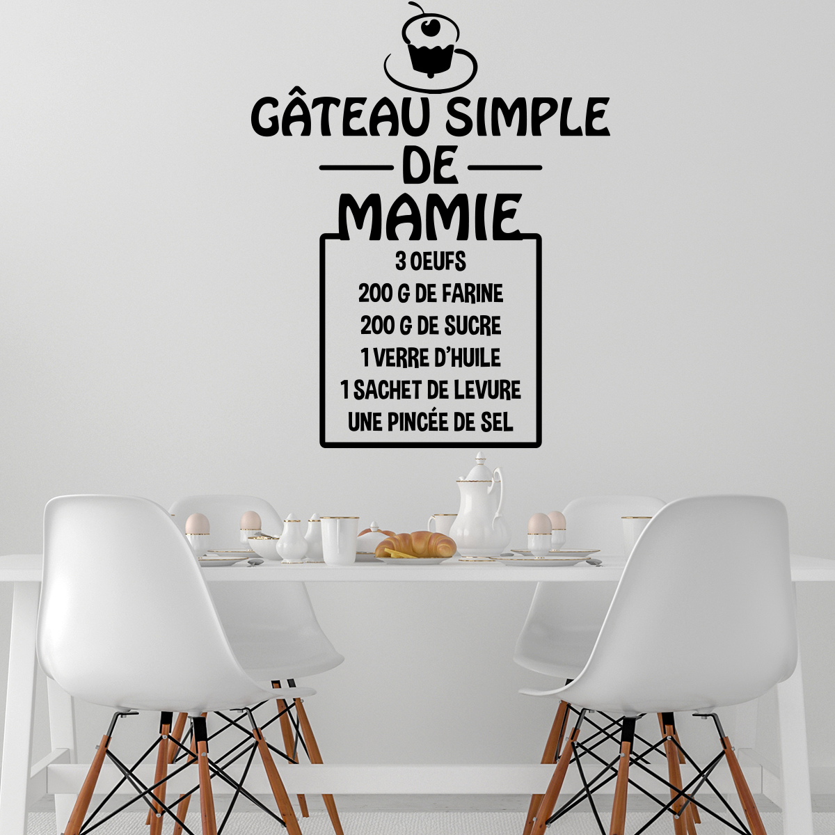 Exceptionnel Sticker citation recette Gâteau simple de mamie – Stickers Cuisine  QG65