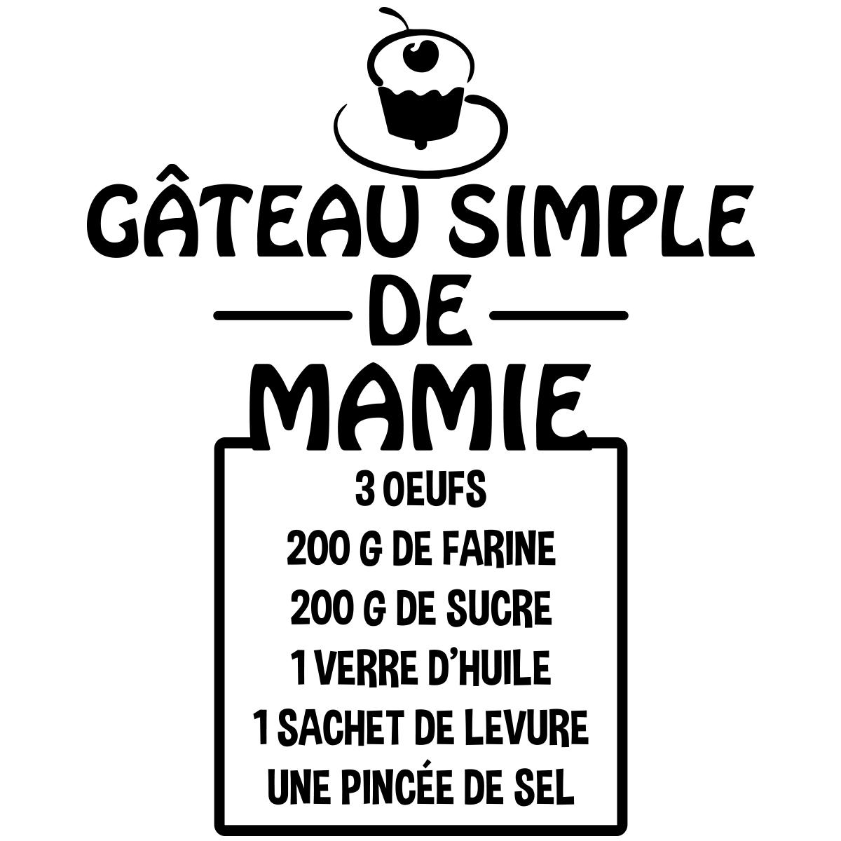 sticker citation recette g teau simple de mamie stickers cuisine nourriture et fruits. Black Bedroom Furniture Sets. Home Design Ideas