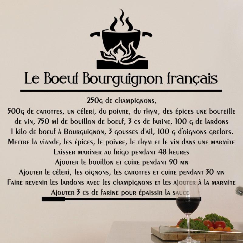 Sticker citation recette le boeuf bourguignon fran ais - Citation cuisine humour ...