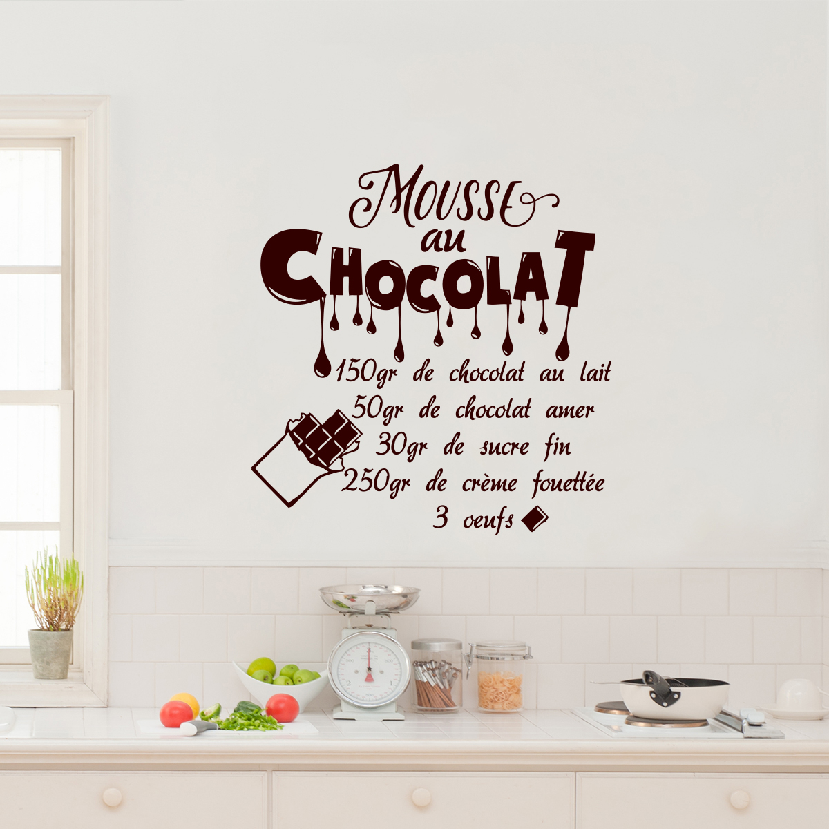 sticker citation recette mouse au chocolat 150 gr stickers cuisine nourriture et fruits. Black Bedroom Furniture Sets. Home Design Ideas