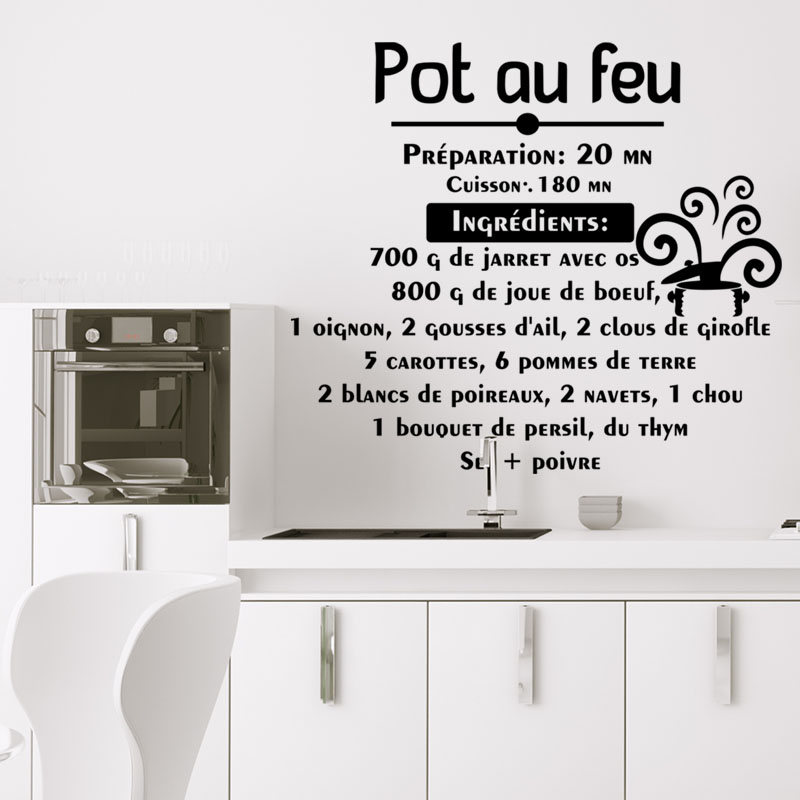 sticker citation recette pot au feu stickers cuisine nourriture et fruits ambiance sticker. Black Bedroom Furniture Sets. Home Design Ideas