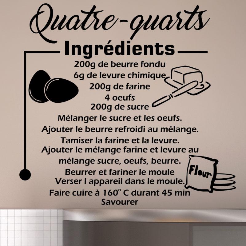 sticker citation recette quatre quarts stickers cuisine nourriture et fruits ambiance sticker. Black Bedroom Furniture Sets. Home Design Ideas