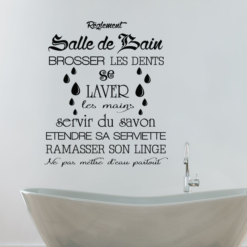 Beautiful stickers salle de bain texte photos bikeparty for Sticker miroir salle de bain