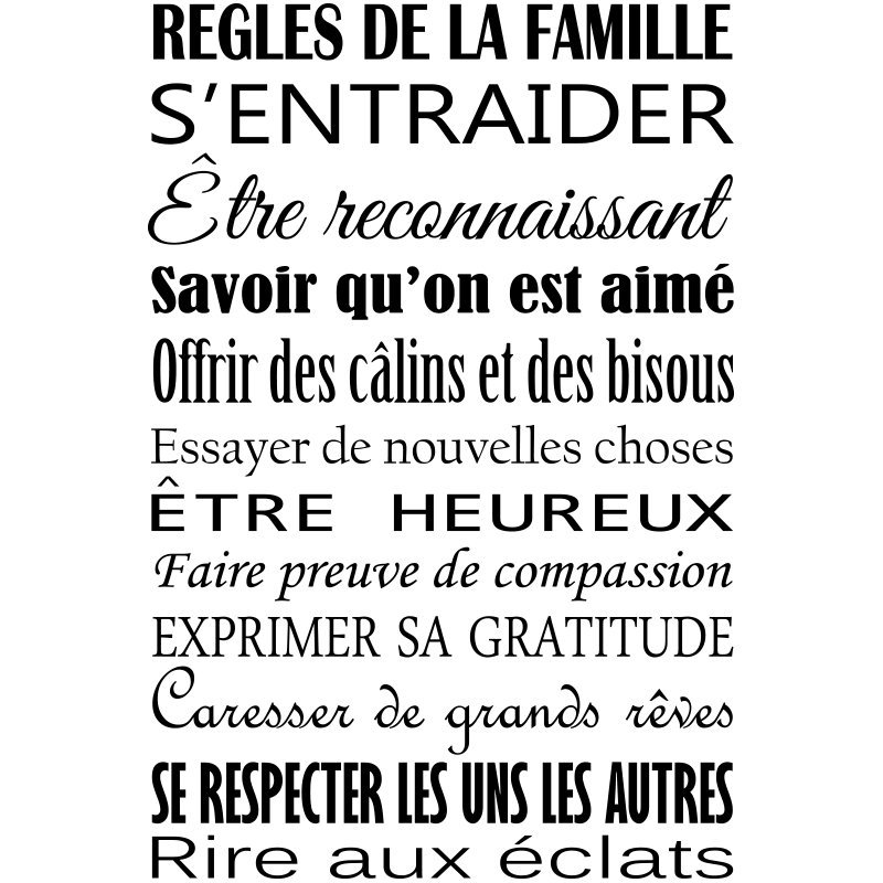 sticker citation r gles de la famille design stickers citations fran ais ambiance sticker. Black Bedroom Furniture Sets. Home Design Ideas