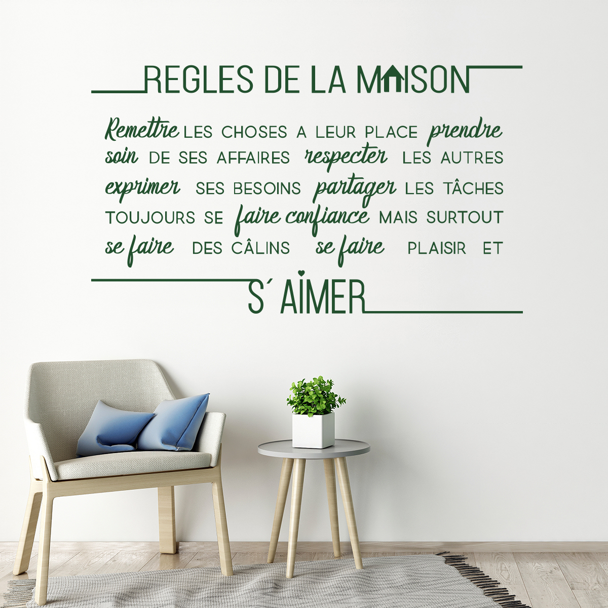 sticker citation r gles de la maison stickers citations fran ais ambiance sticker. Black Bedroom Furniture Sets. Home Design Ideas