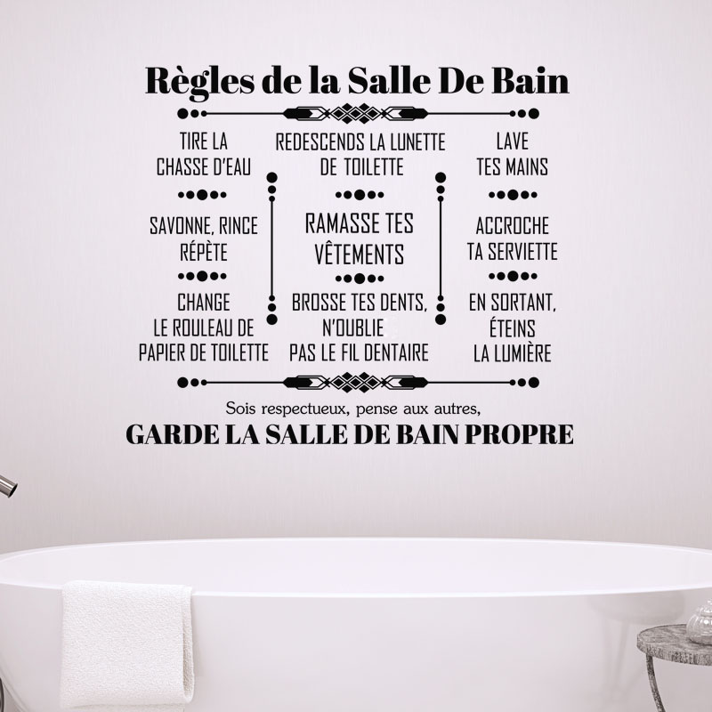 sticker citation r gles de la salle de bain stickers. Black Bedroom Furniture Sets. Home Design Ideas