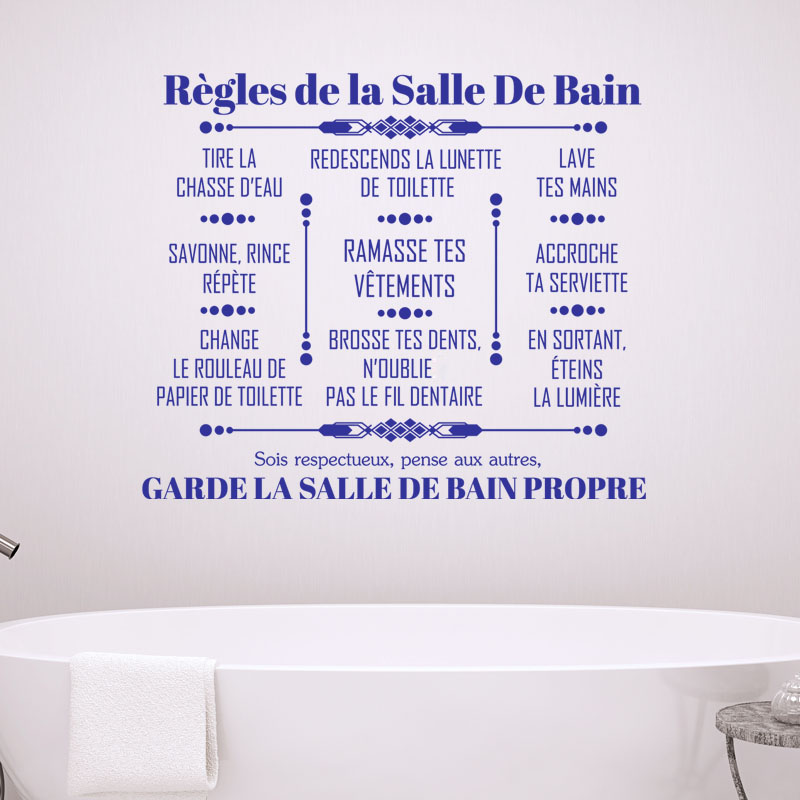 Sticker citation r gles de la salle de bain stickers for Salon de la salle de bain