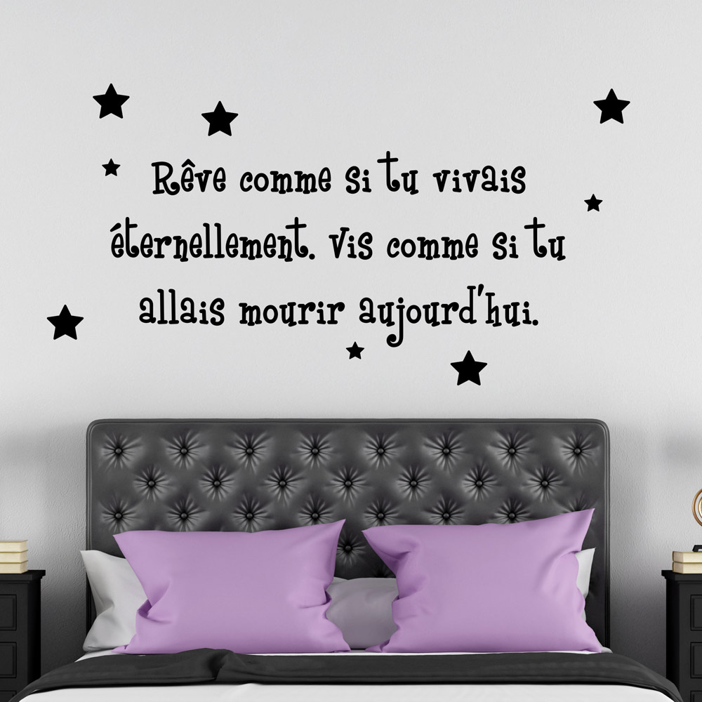 sticker citation chambre top idee peinture chambre adulte murs en bleu fonce couverture en. Black Bedroom Furniture Sets. Home Design Ideas