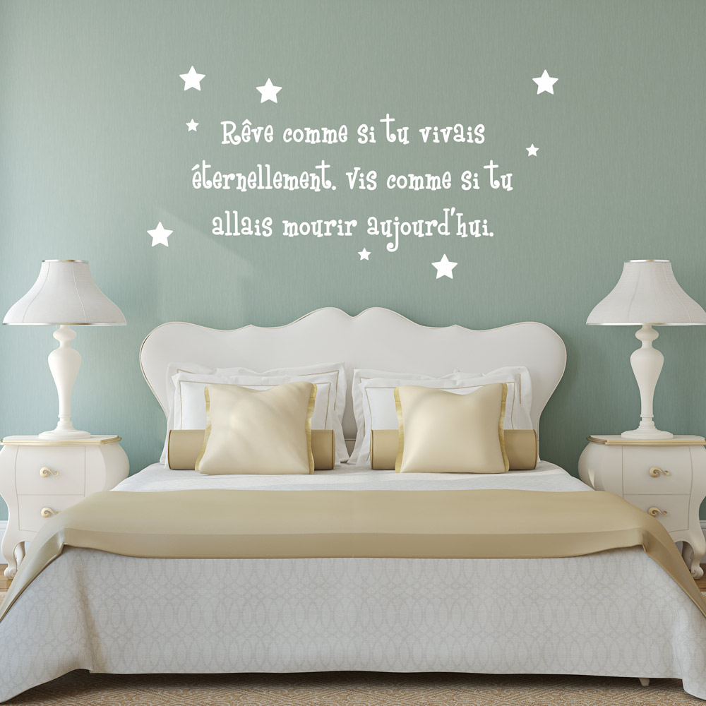 sticker citation r ve comme si tu vivais ternelement stickers citations fran ais. Black Bedroom Furniture Sets. Home Design Ideas