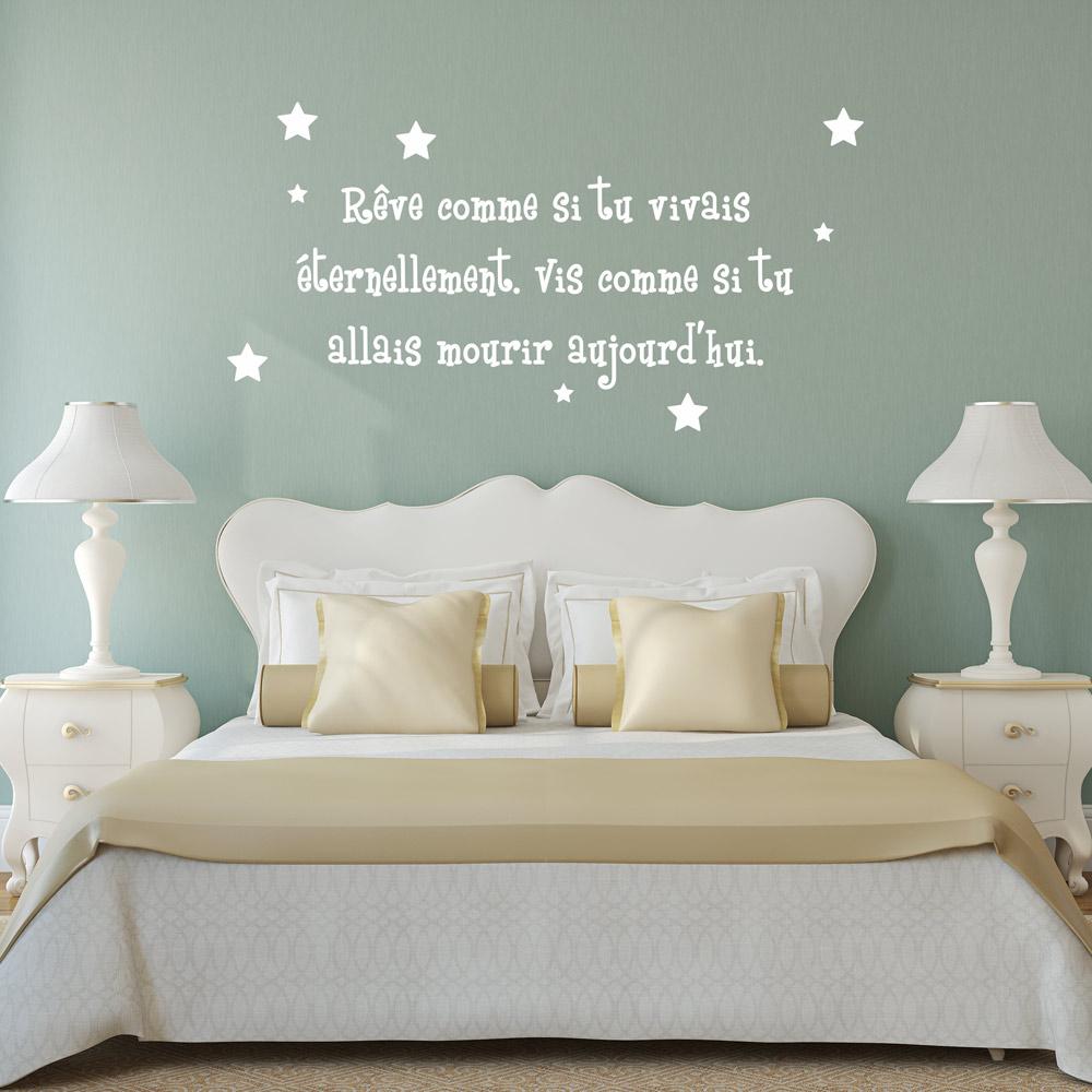sticker citation r ve comme si tu vivais ternelement stickers citations fran ais. Black Bedroom Furniture Sets. Home Design Ideas