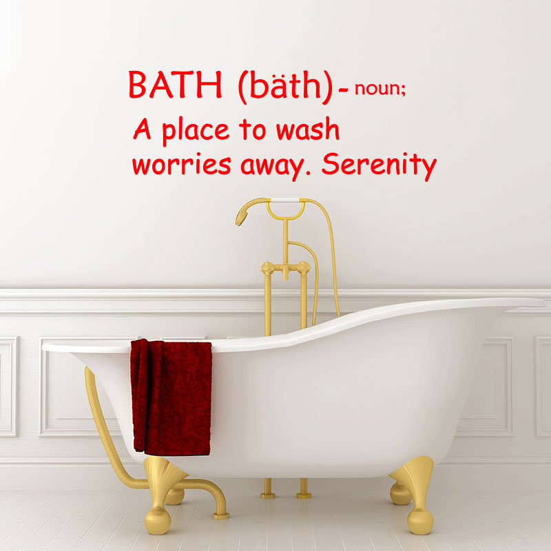Sticker citation salle de bain a place to wash worries for Citation salle de bain