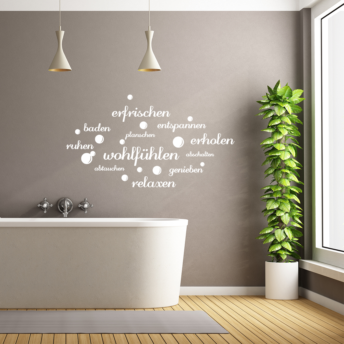 sticker citation salle de bain efrischen entspannen baden stickers citations allemand. Black Bedroom Furniture Sets. Home Design Ideas