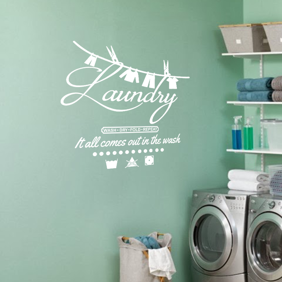 Salle De Bain Wall Decal ~ sticker citation salle de bain it all comes out in the wash