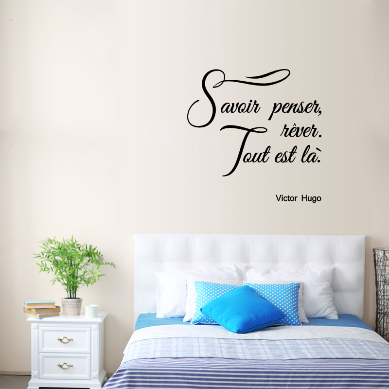 sticker citation savoir penser r ver victor hugo. Black Bedroom Furniture Sets. Home Design Ideas