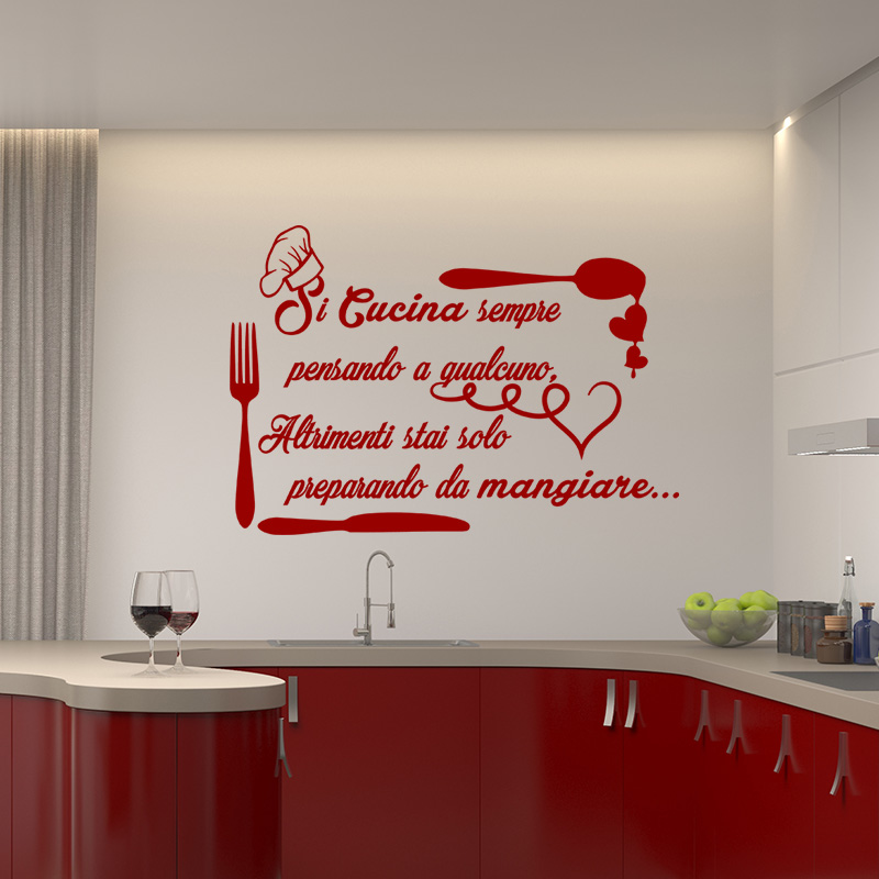 Sticker citation si cucina sempre stickers cuisine - Stickers cucina ...