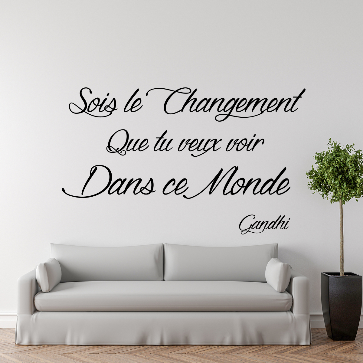 Sticker citation sois le changement gandhi stickers for Autocollant mural texte