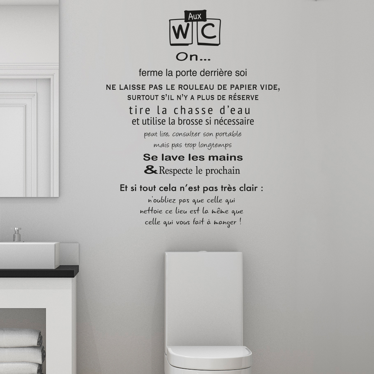 sticker citation toilettes r gles des wc stickers citations fran ais ambiance sticker. Black Bedroom Furniture Sets. Home Design Ideas
