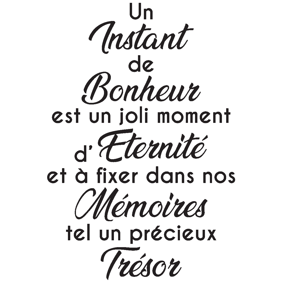 sticker citation un instant de bonheur stickers citations fran ais ambiance sticker. Black Bedroom Furniture Sets. Home Design Ideas