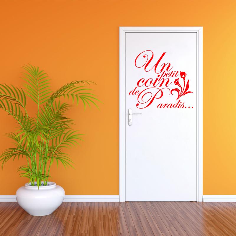 sticker citation un petit coin de paradis avec une fleure stickers salle de bain mur salle de. Black Bedroom Furniture Sets. Home Design Ideas