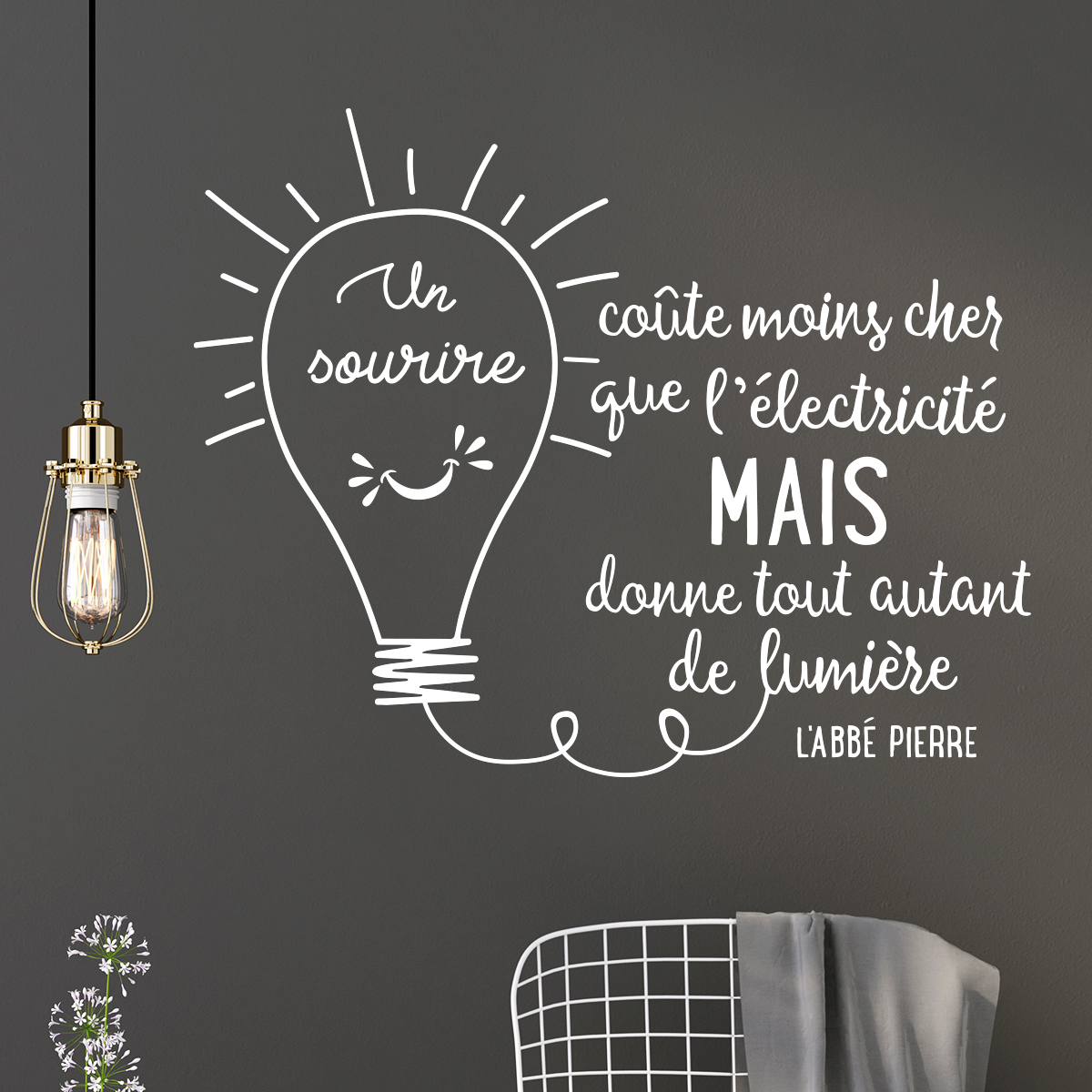 sticker citation un sourire co te moins cher que l 39 lectricit stickers citations fran ais. Black Bedroom Furniture Sets. Home Design Ideas