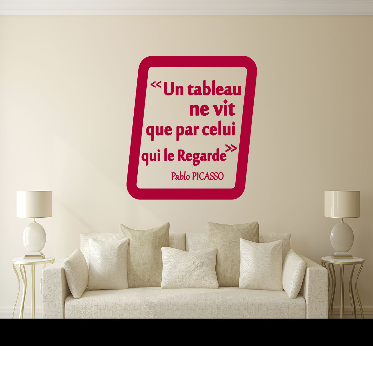 sticker citation un tableau pablo picasso stickers citations fran ais ambiance sticker. Black Bedroom Furniture Sets. Home Design Ideas