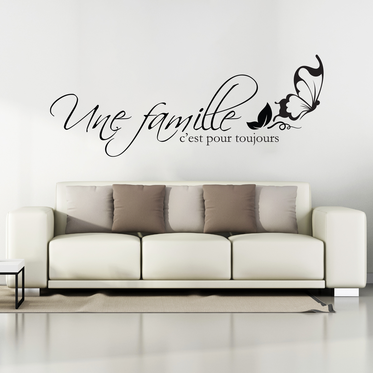 sticker citation une famille c 39 est pour toujours stickers citations fran ais ambiance sticker. Black Bedroom Furniture Sets. Home Design Ideas