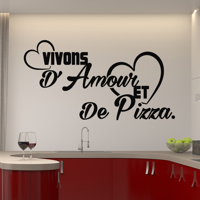sticker citation vivons d 39 amour et de pizza stickers cuisine textes et recettes ambiance sticker. Black Bedroom Furniture Sets. Home Design Ideas