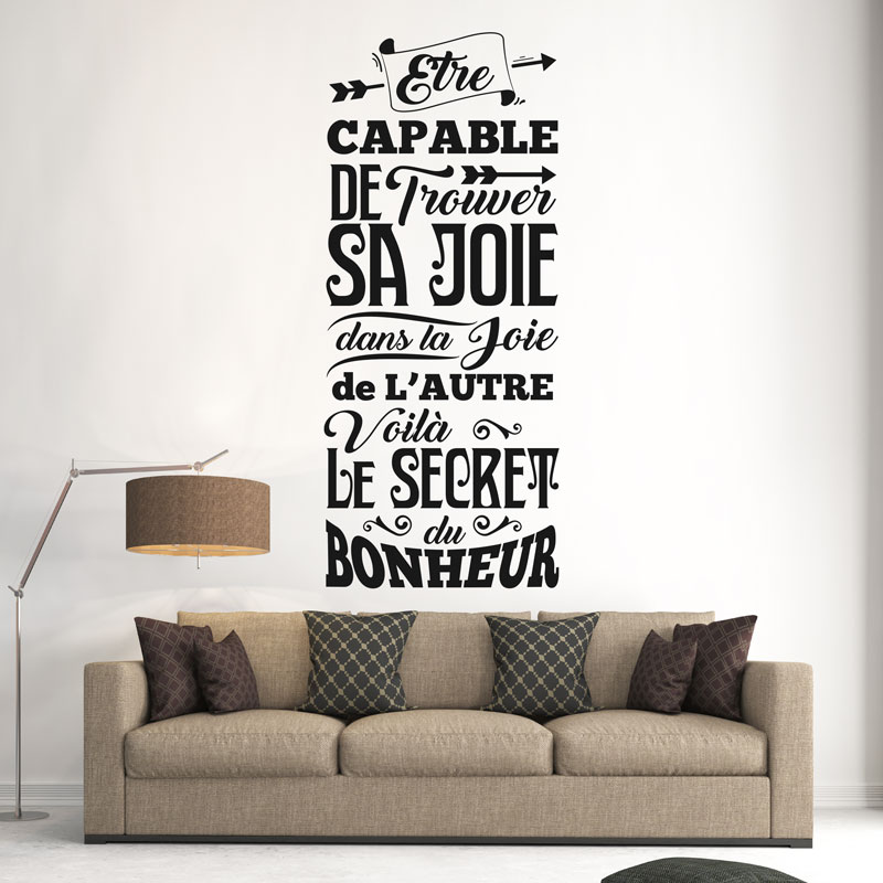 sticker citation voil le secret du bonheur stickers citations fran ais ambiance sticker. Black Bedroom Furniture Sets. Home Design Ideas