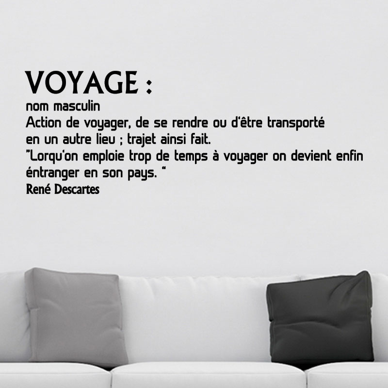sticker citation voyage ren descartes stickers citations c l brit s ambiance sticker. Black Bedroom Furniture Sets. Home Design Ideas