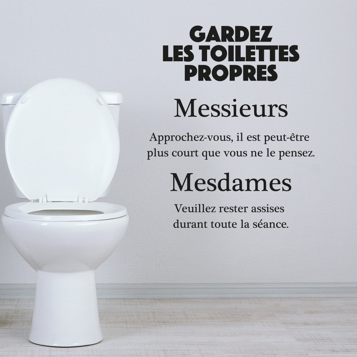 Sticker Citation Wc Gardez Les Toilettes Propres Stickers