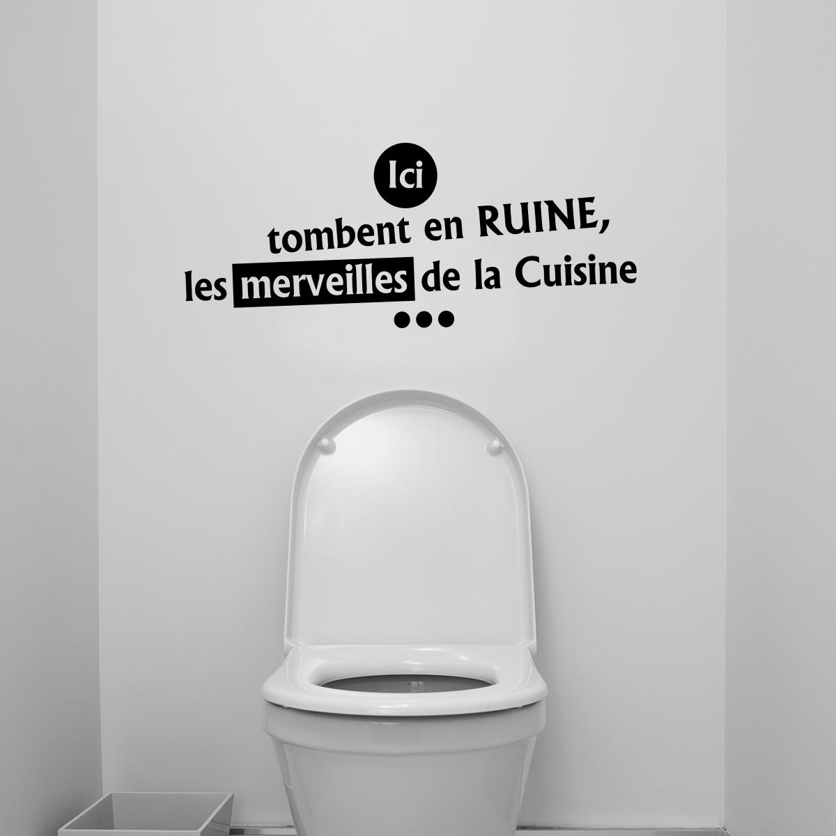 Sticker citation wc ici tombent en ruine les merveilles for Produit pour deboucher les wc
