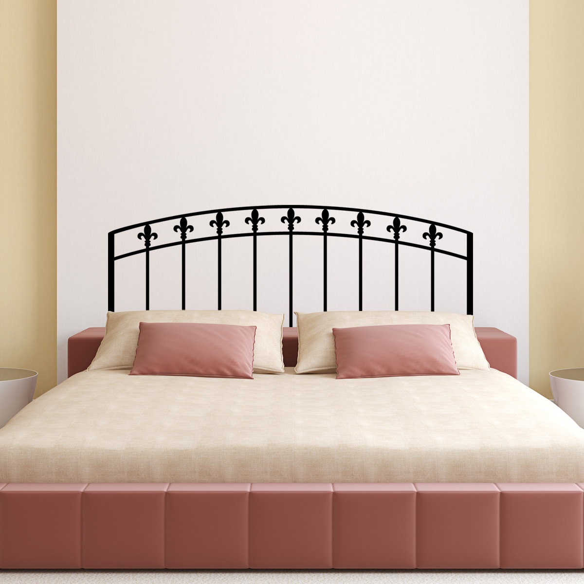 stickers muraux t tes de lit sticker mural classique simple lit double ambiance. Black Bedroom Furniture Sets. Home Design Ideas