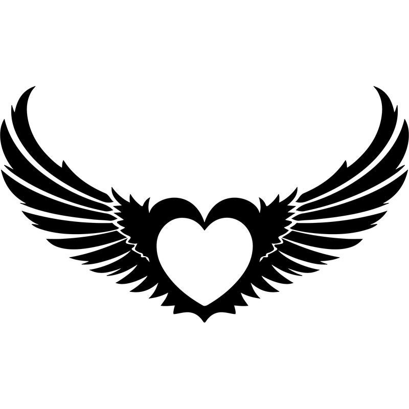 Sticker coeur artistique avec des ailes stickers f tes - Dessin de coeur avec des ailes ...