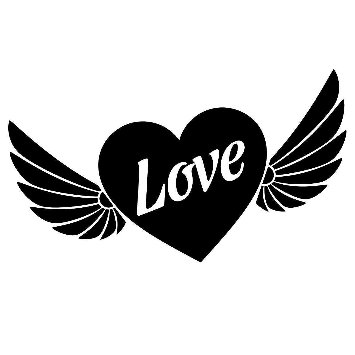 Sticker coeur avec ailes stickers f tes stickers saint - Dessin de coeur avec des ailes ...