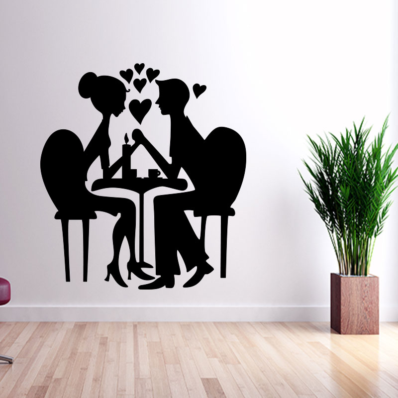 sticker coeur couple amoureux silhouette stickers chambre amour ambiance sticker. Black Bedroom Furniture Sets. Home Design Ideas