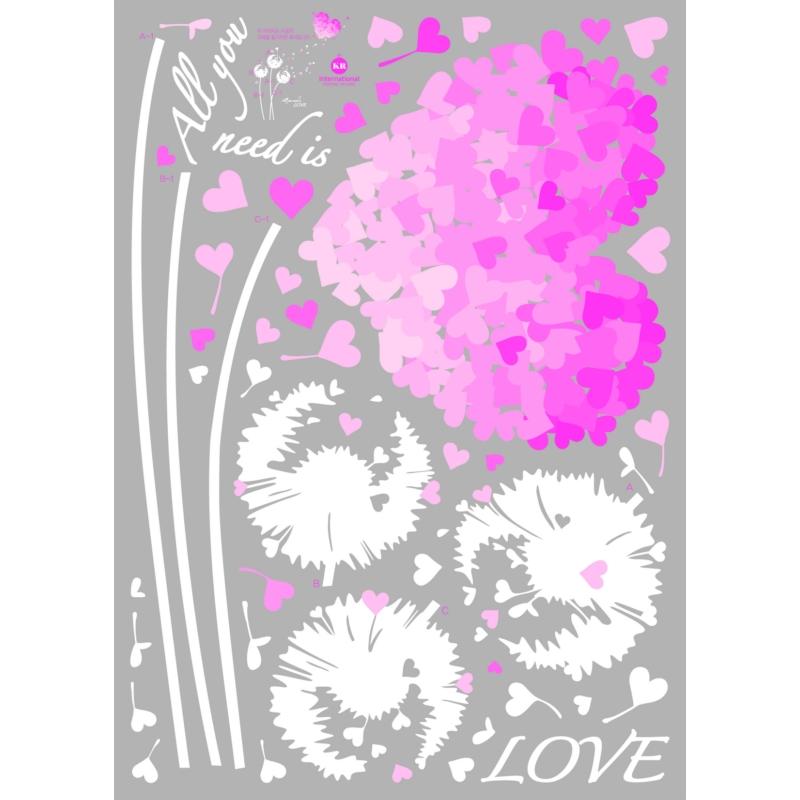 stickers fleur en coeurs amour rose. Black Bedroom Furniture Sets. Home Design Ideas
