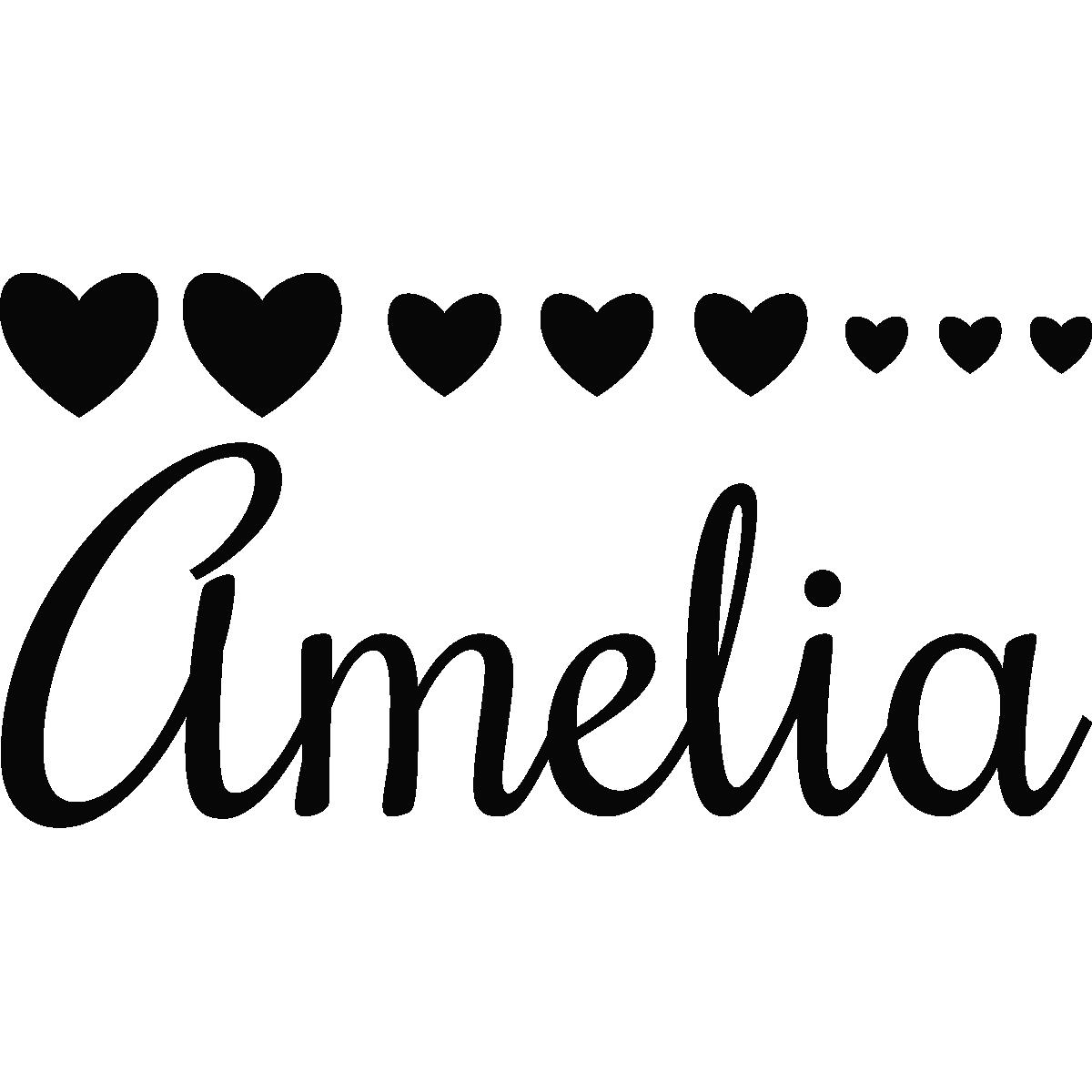 Stickers muraux prénom Sticker avec des coeurs 2