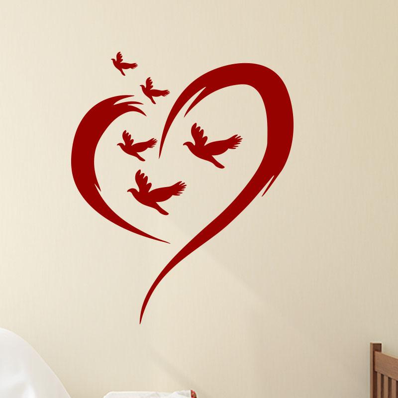 Sticker coeurs d 39 amour des oiseaux stickers animaux - Image de coeur damour ...