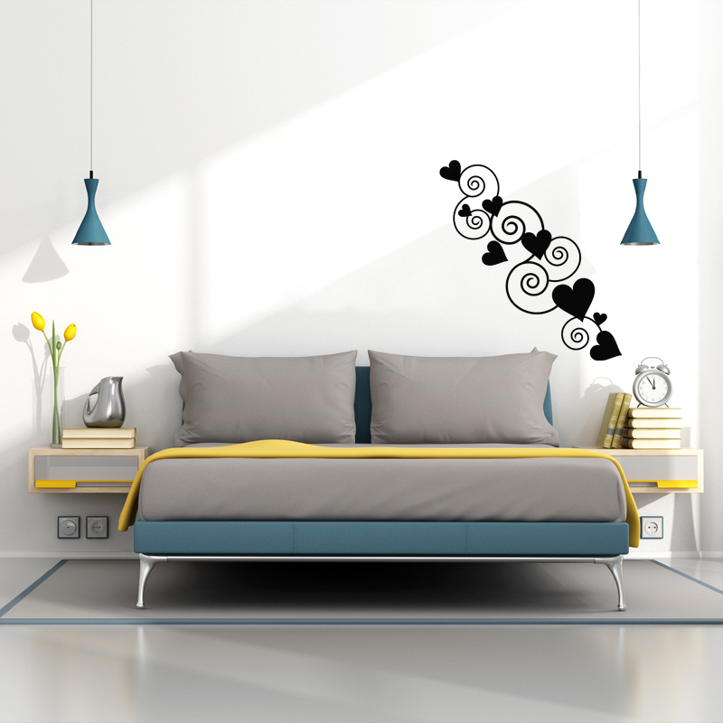sticker coeurs en enfilade stickers chambre amour ambiance sticker. Black Bedroom Furniture Sets. Home Design Ideas
